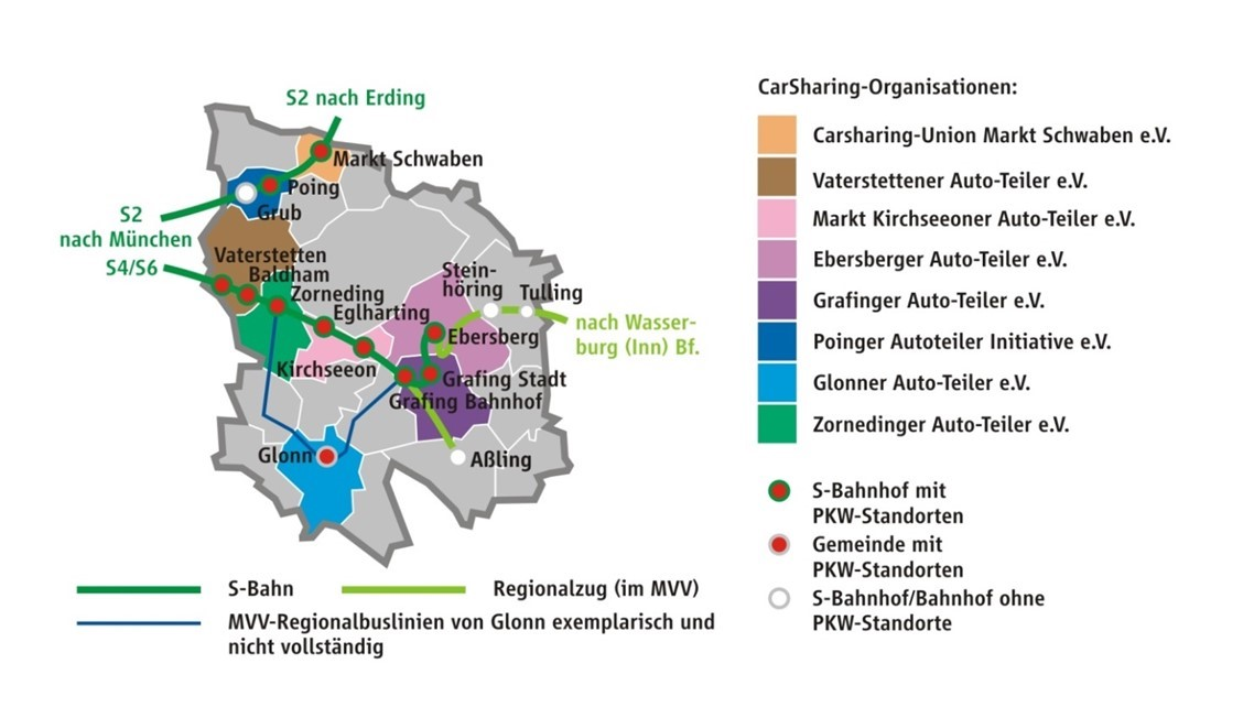 CarSharing-Vereine im Landkreis Ebersberg (Grafik: MVV 2016)