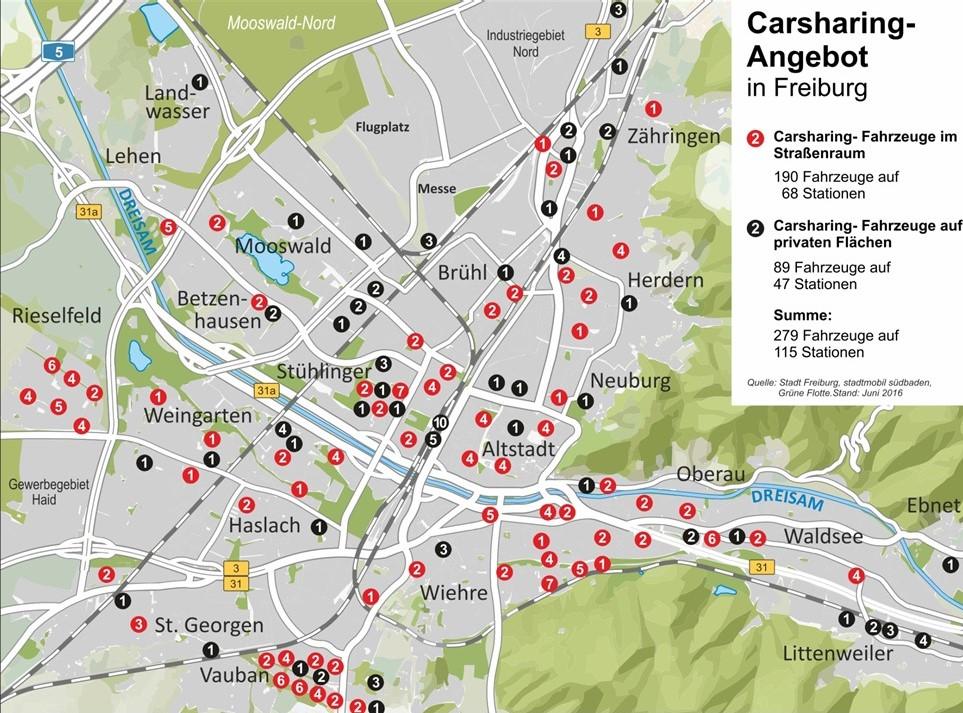 Freiburg: CarSharing-Stellplätze an Stationen und auf privatem Grund (Grafik: Stadt Freiburg)