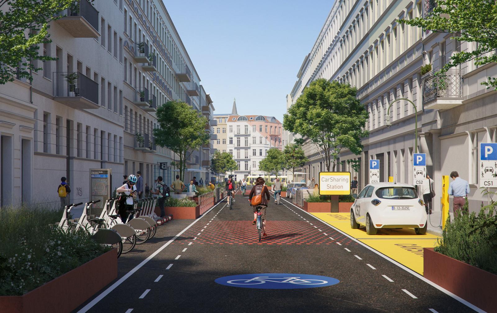 Ein CarSharing-Fahrzeug ersetzt bis zu 20 private Pkw. Der flächendeckende Ausbau des CarSharing schafft Platz in den Städten. Foto: THIRD