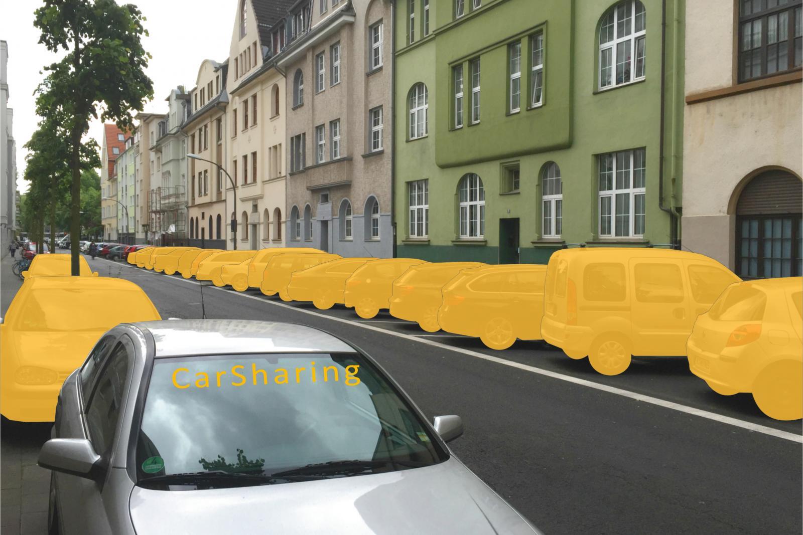 Beispiel Köln-Sülz: Ein CarSharing-Fahrzeug ersetzt hier 19 private Pkw