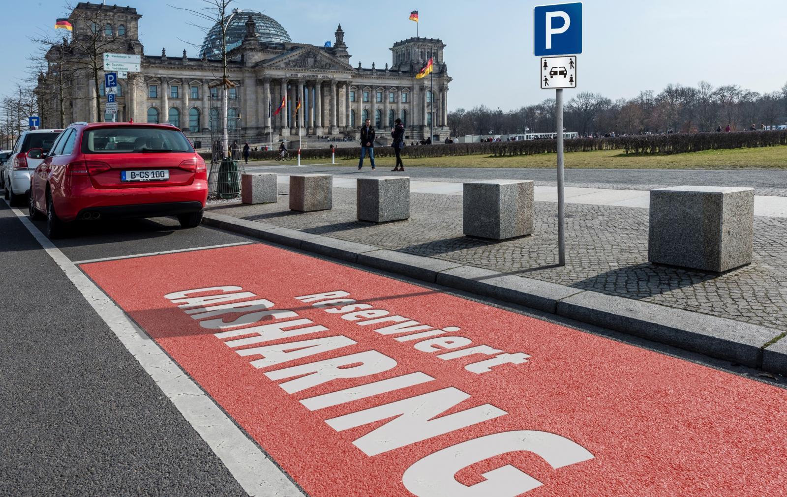 Nur rechtssicher  mit einem Carsharinggesetz - reservierter CarSharing-Stellplatz im öffentlichen Raum (Fotomontage: bcs)